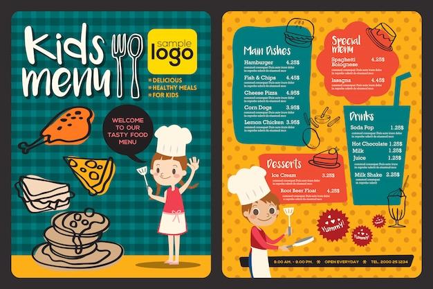 Modèle de menu repas mignon enfants colorés Vecteur Premium