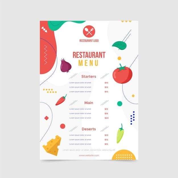 Modèle De Menu De Restaurant Abstrait Avec Différentes Formes Vecteur gratuit