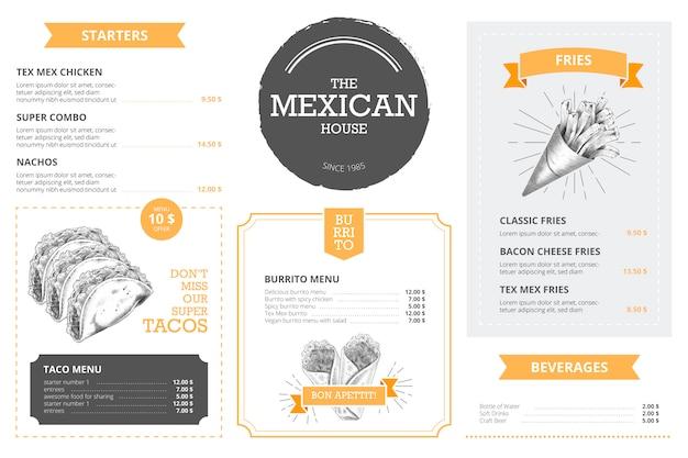 Modèle de menu de restaurant avec des aliments dessinés à la main Vecteur gratuit