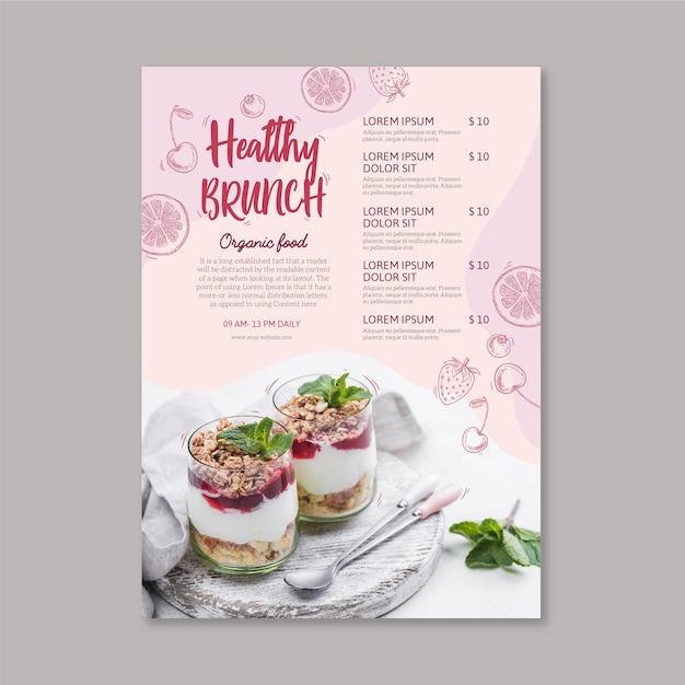 Modèle De Menu De Restaurant D'aliments Sains Vecteur Premium