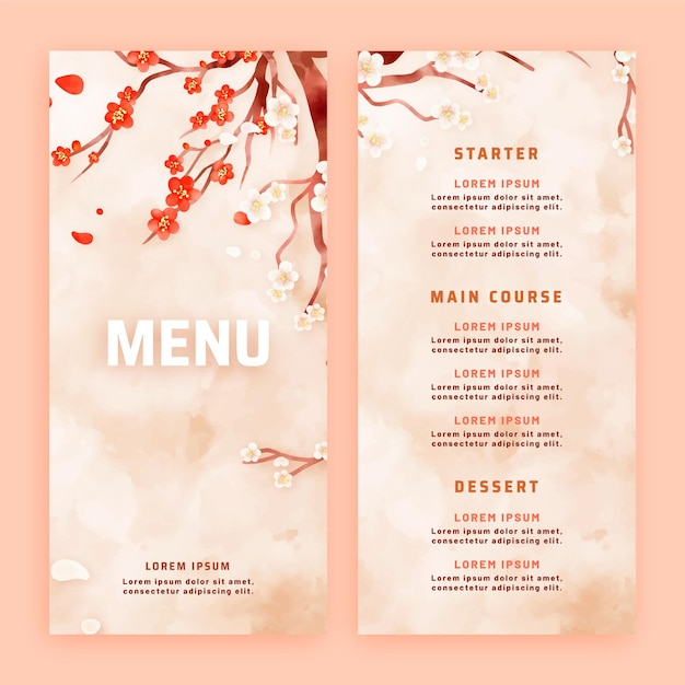 Modèle De Menu De Restaurant Aquarelle Vecteur gratuit