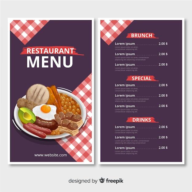 Modèle de menu de restaurant avec une assiette Vecteur gratuit