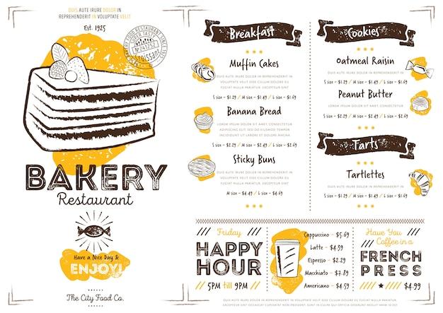 Modèle de menu de restaurant café boulangerie Vecteur Premium