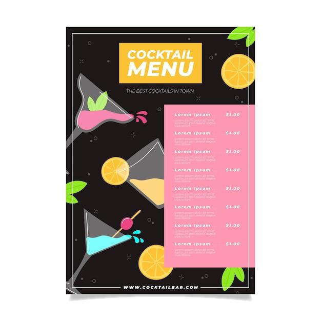 Modèle De Menu De Restaurant Cocktail Coloré Vecteur gratuit
