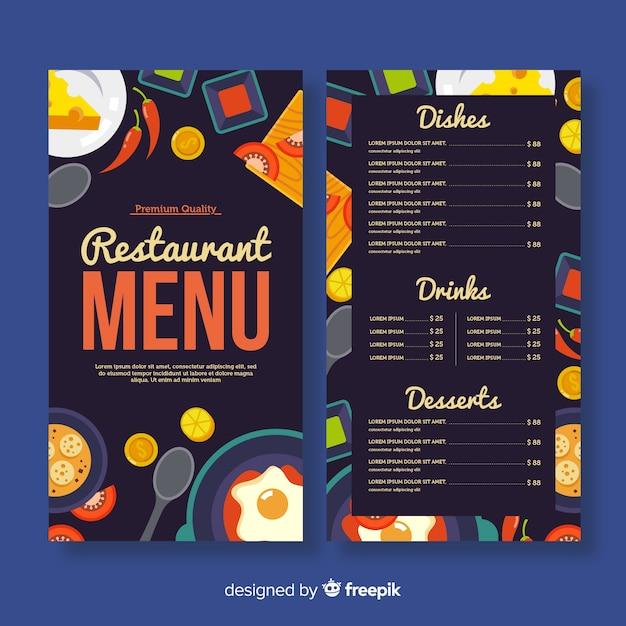 Modèle De Menu De Restaurant Coloré   Vecteur Gratuite