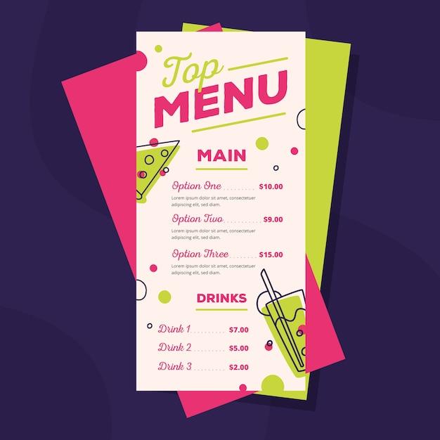 Modèle de menu de restaurant coloré Vecteur gratuit