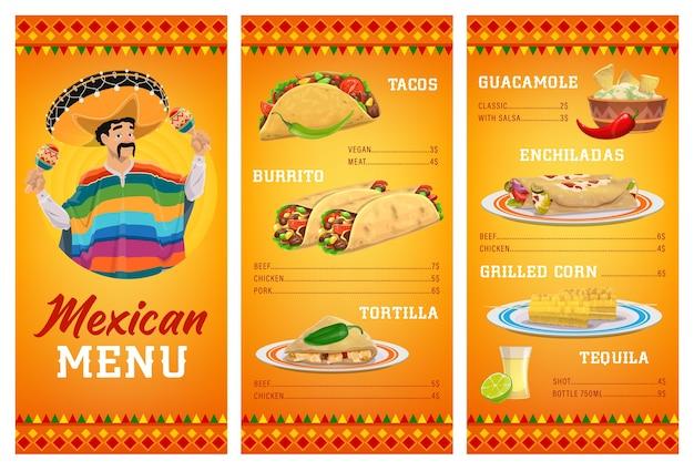 Modèle De Menu De Restaurant De Cuisine Mexicaine Avec Nourriture Et Boisson. Vecteur Premium