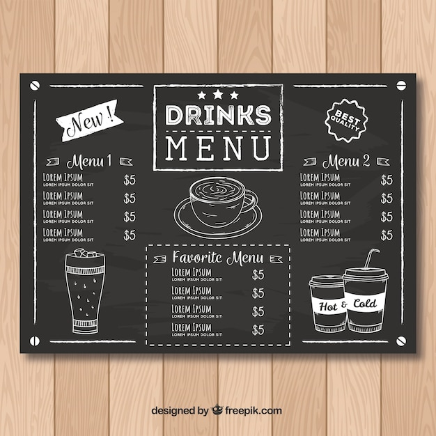 Modèle de menu de restaurant dans le style de tableau noir Vecteur gratuit