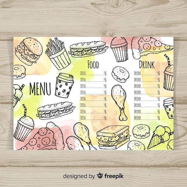 Modèle De Menu Restaurant Dessiné Main Coloré Vecteur Premium