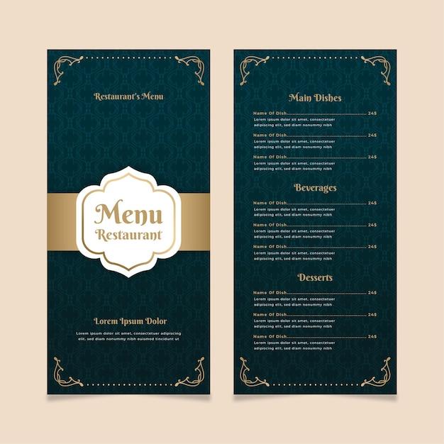 Modèle De Menu De Restaurant Doré Avec Bleu Vecteur gratuit