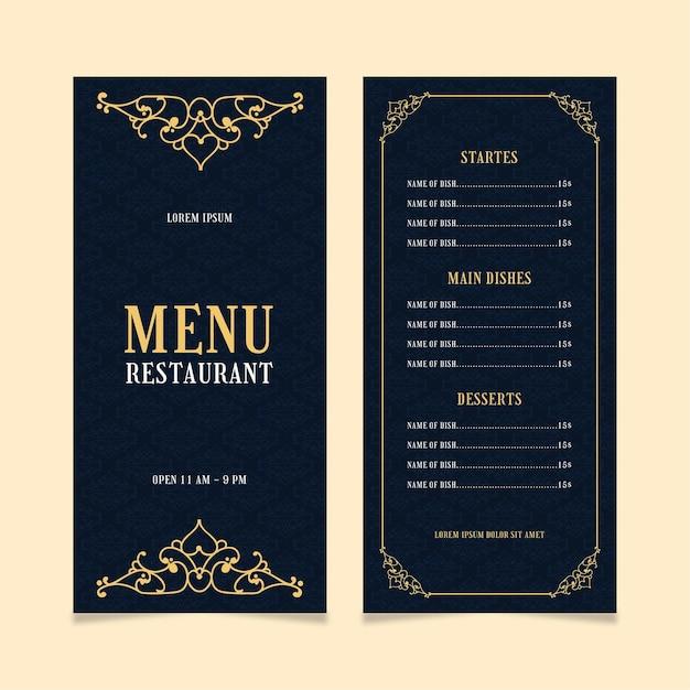 Modèle De Menu De Restaurant Doré Vecteur gratuit
