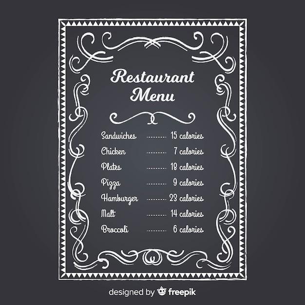 Modèle de menu de restaurant élégant avec style tableau noir Vecteur gratuit