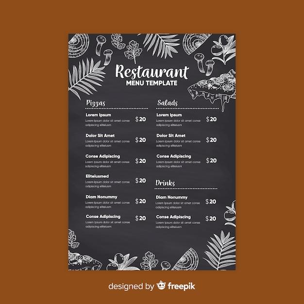 Modèle de menu de restaurant élégant avec style de tableau Vecteur gratuit