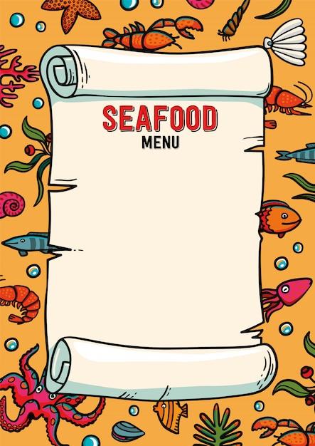 Modèle de menu de restaurant de fruits de mer en style cartoon. Vecteur Premium