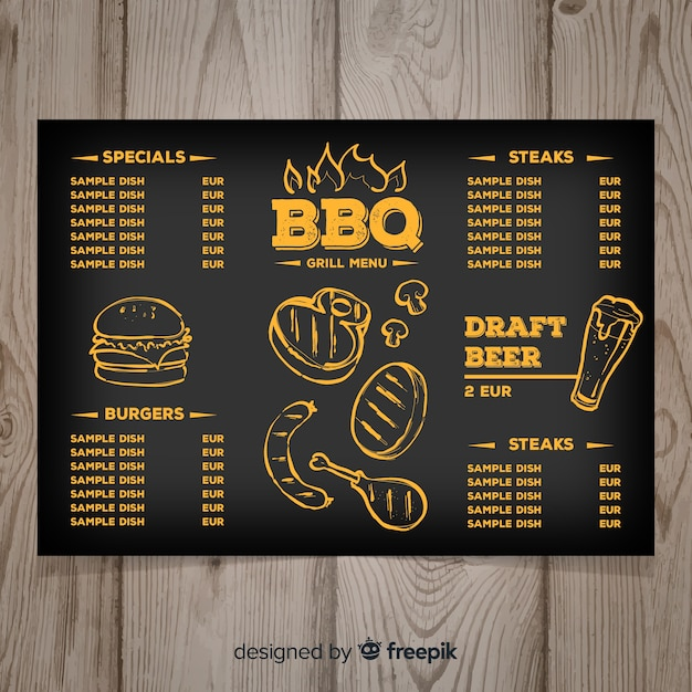 Modèle de menu de restaurant grill dessiné à la main Vecteur gratuit