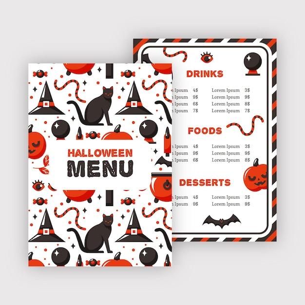 Modèle De Menu De Restaurant Halloween Chat Noir Vecteur gratuit