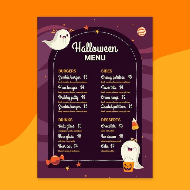 Modèle De Menu De Restaurant Halloween Vecteur gratuit