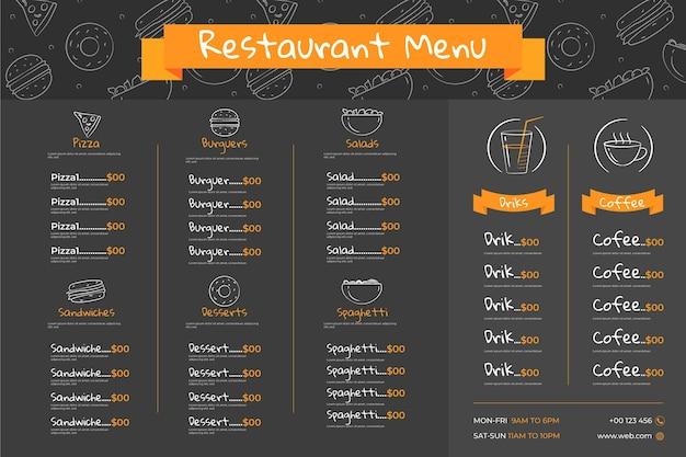 Modèle De Menu De Restaurant Horizontal Illustré Vecteur Premium