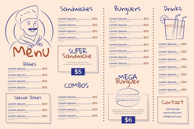 Modèle De Menu De Restaurant Horizontal Illustré Vecteur gratuit