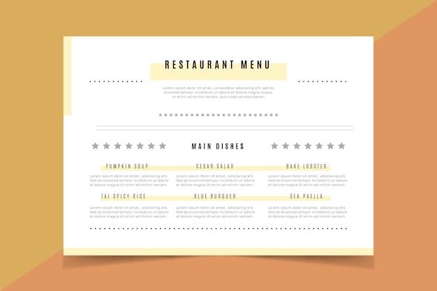 Modèle De Menu De Restaurant Minimaliste Vecteur gratuit