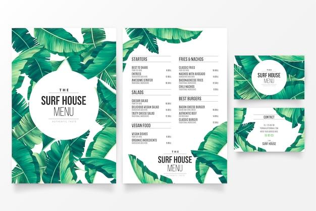 Modèle de menu de restaurant moderne avec thème tropical floral Vecteur gratuit