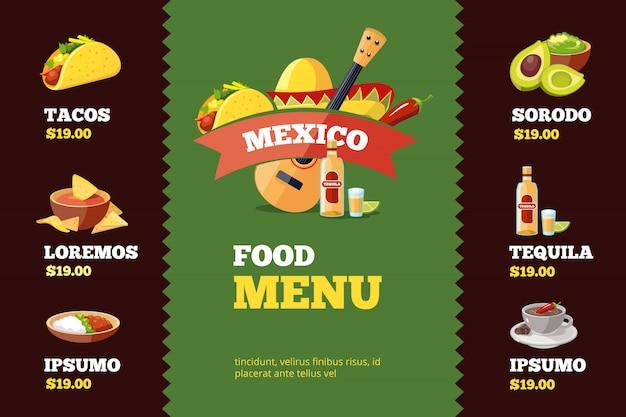 Modèle De Menu De Restaurant Avec De La Nourriture Mexicaine. Vecteur Premium
