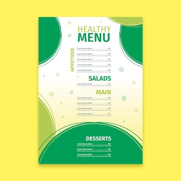 Modèle De Menu De Restaurant De Nourriture Saine Colorée Vecteur gratuit