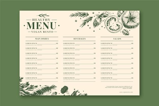 Modèle De Menu De Restaurant De Nourriture Saine Rétro Vecteur gratuit
