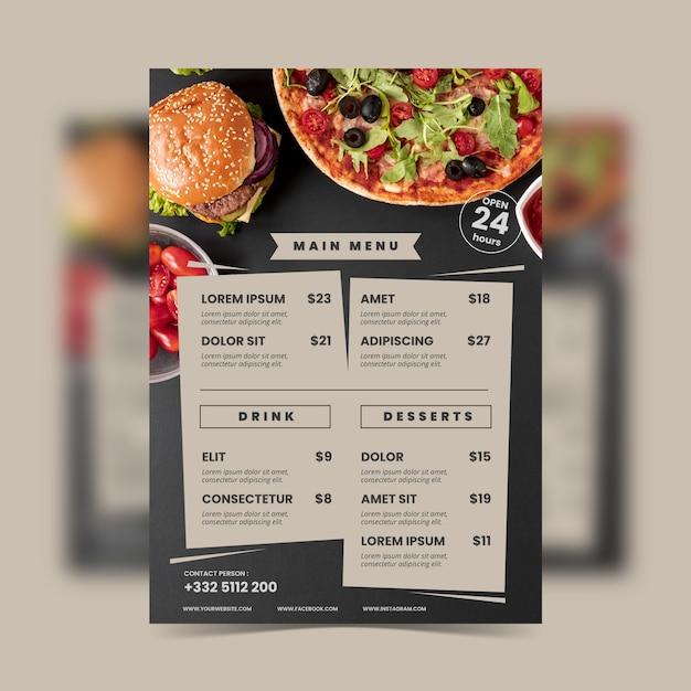 Modèle De Menu De Restaurant De Nourriture Saine Vintage Vecteur Premium