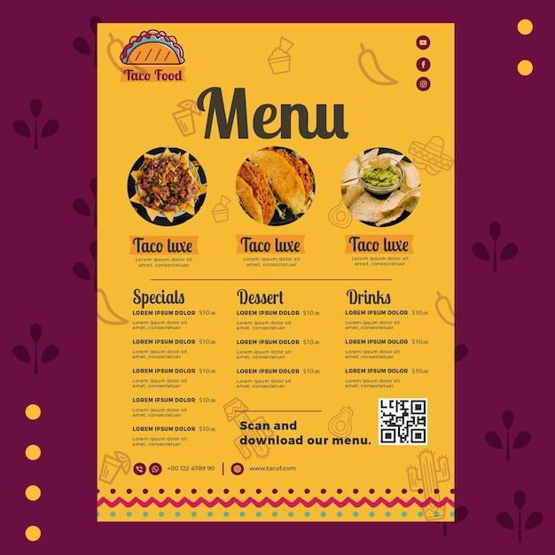 Modèle De Menu De Restaurant De Nourriture Taco Vecteur Premium