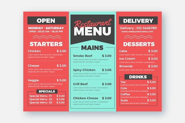 Modèle de menu de restaurant et d'option de livraison Vecteur gratuit