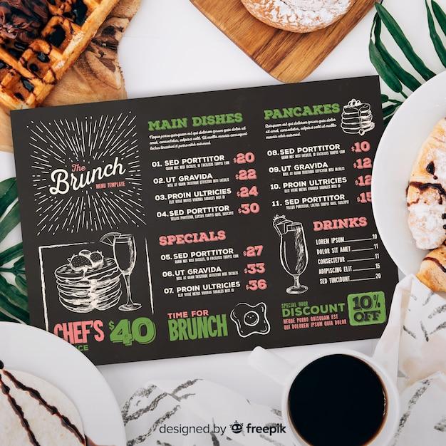 Modèle de menu de restaurant avec photo Vecteur gratuit