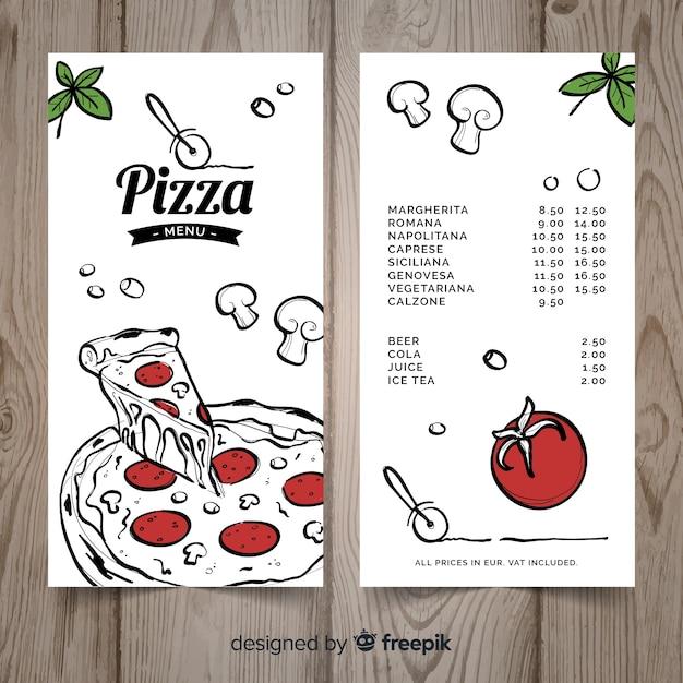 Modèle de menu de restaurant pizza dessiné à la main Vecteur gratuit