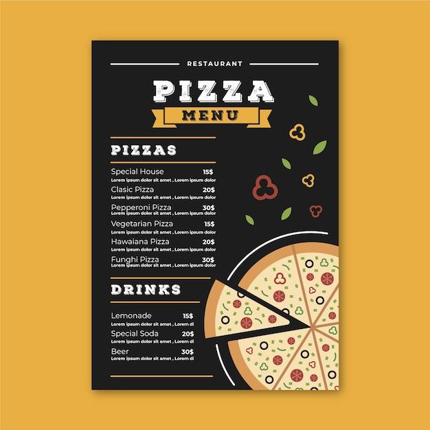 Modèle De Menu De Restaurant Avec Pizza Vecteur gratuit