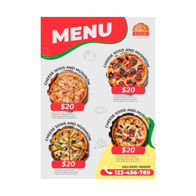 Modèle De Menu De Restaurant De Pizza Vecteur Premium