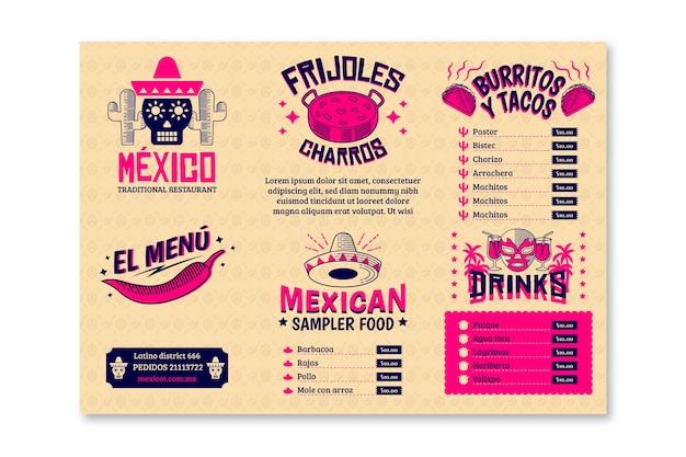 Modèle De Menu De Restaurant Pour La Cuisine Mexicaine Vecteur Premium