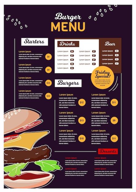 Modèle De Menu De Restaurant Pour Plate-forme Numérique Au Format Vertical Vecteur gratuit