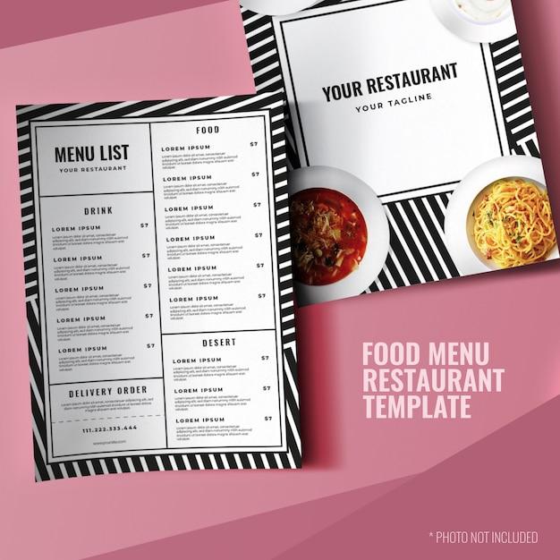 Modèle de menu de restaurant simple impression minimaliste Vecteur Premium