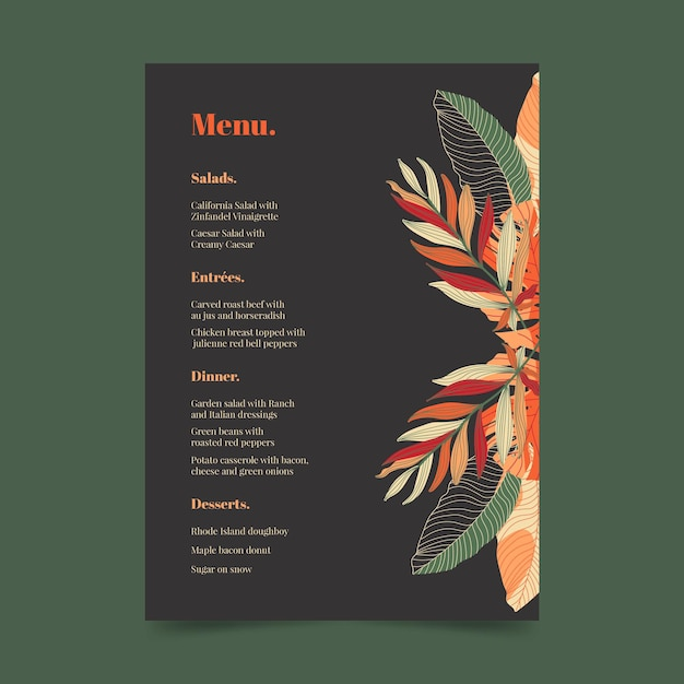 Modèle De Menu De Restaurant Sombre Avec Ornements Floraux Vecteur Premium