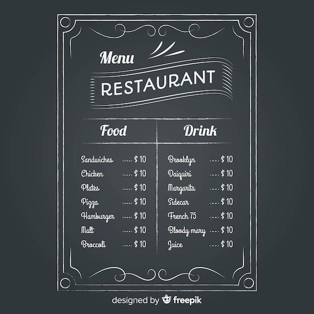 Modèle de menu de restaurant avec style tableau noir Vecteur gratuit