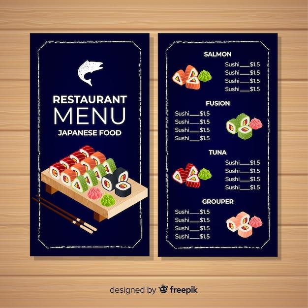 Modèle de menu de restaurant de sushi coloré Vecteur gratuit