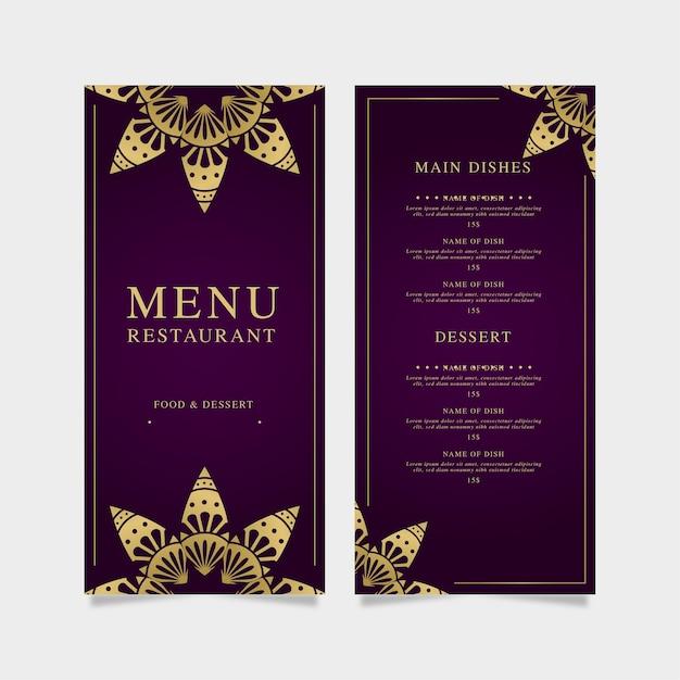 Modèle De Menu De Restaurant Violet Avec Doré Vecteur gratuit
