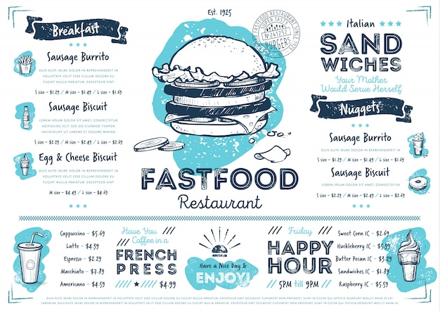 Modèle de menu de restauration rapide café restaurant Vecteur Premium