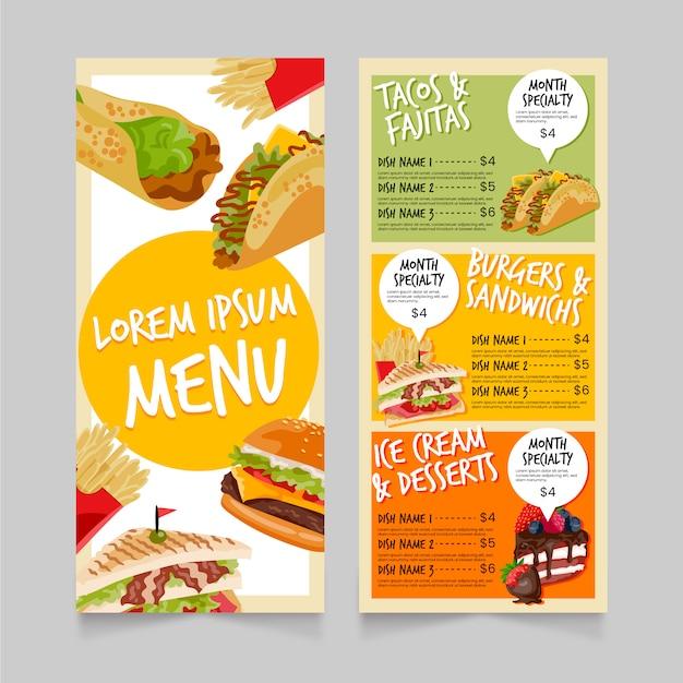 Modèle de menu de restauration rapide Vecteur gratuit
