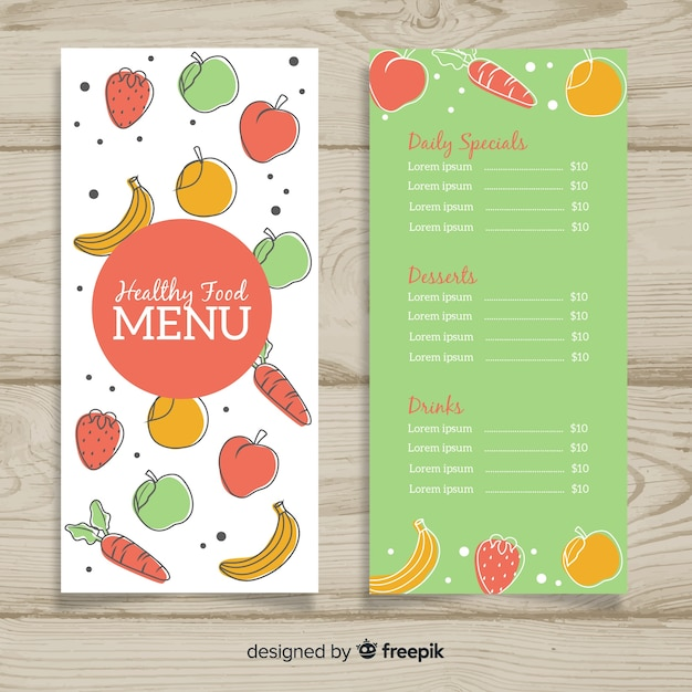 Modèle de menu sain coloré Vecteur gratuit