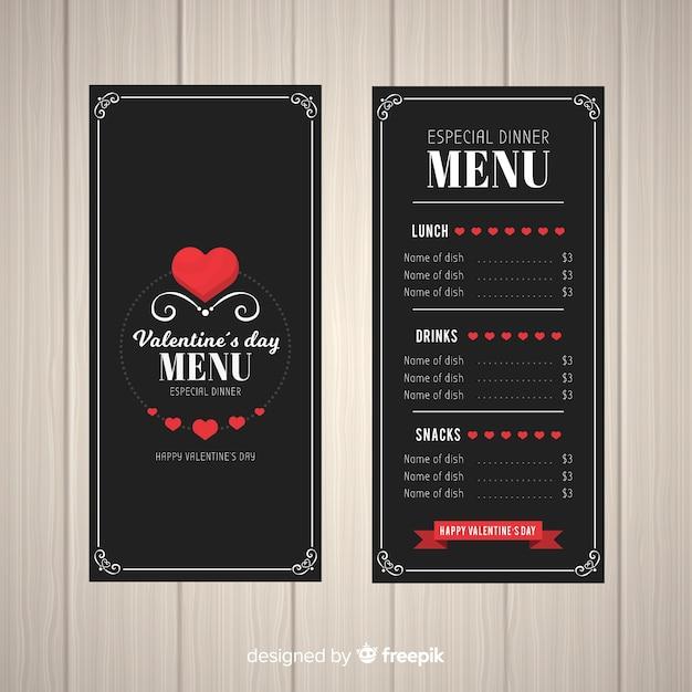 Modèle de menu saint-valentin coeurs plats Vecteur gratuit
