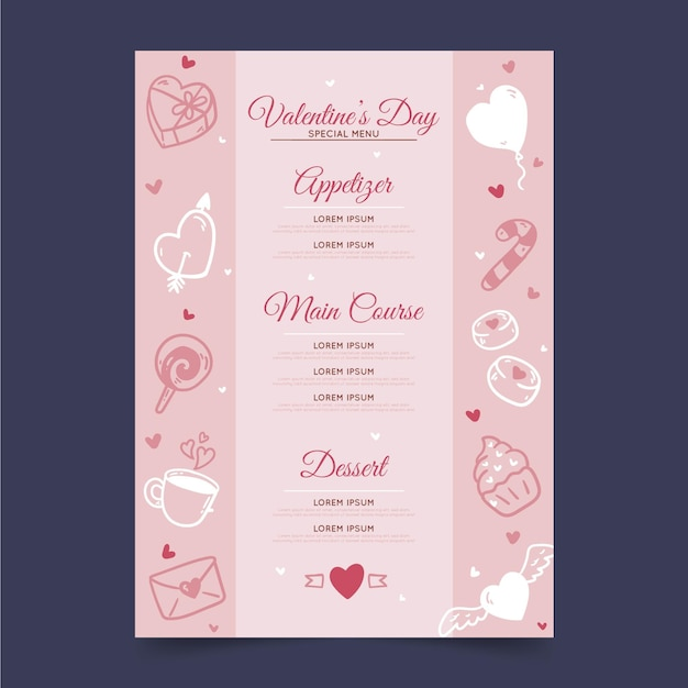Modèle De Menu De La Saint-valentin Avec Des Coeurs Vecteur gratuit