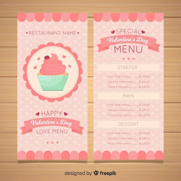 Modèle de menu saint valentin cupcake couleur pastel Vecteur gratuit