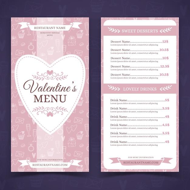 Modèle De Menu Saint Valentin Dessiné à La Main Vecteur gratuit