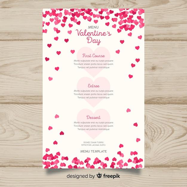 Modèle de menu saint valentin petits coeurs Vecteur gratuit